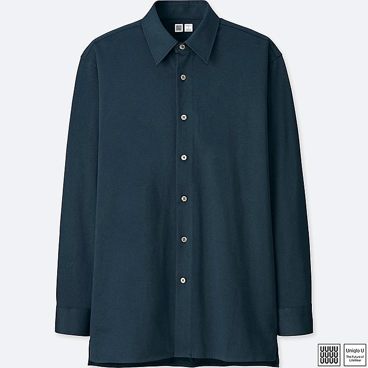 MEN U SUPIMA® COTTON JERSEY LONG-SLEEVE SHIRT, BLUE, large