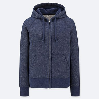 WOMEN SWEAT LONG-SLEEVE FULL-ZIP HOODIE, BLUE, medium