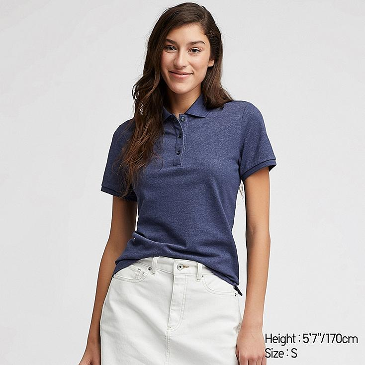 WOMEN STRETCH PIQUE SHORT-SLEEVE POLO SHIRT, BLUE, large