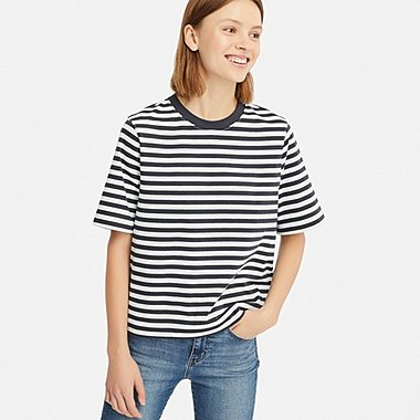 WOMEN STRIPED CROPPED CREW NECK SHORT-SLEEVE T-SHIRT, BLUE, medium