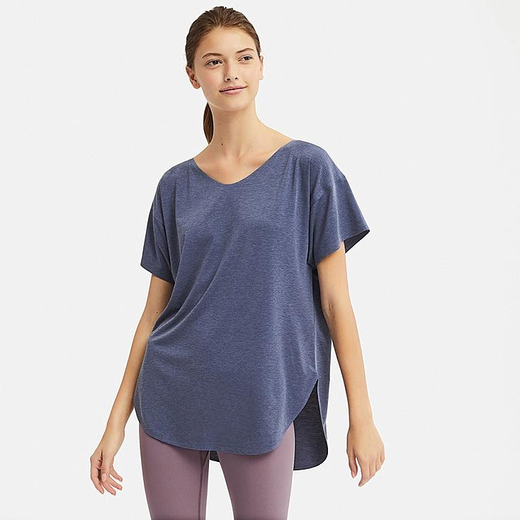 WOMEN AIRism SEAMLESS V-NECK LONG T-SHIRT, BLUE, large
