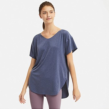 WOMEN AIRism SEAMLESS V-NECK LONG T-SHIRT, BLUE, medium