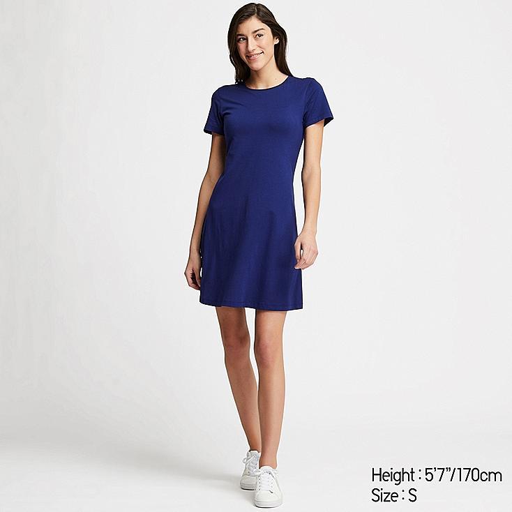 WOMEN A-LINE SHORT-SLEEVE MINI BRA DRESS, BLUE, large