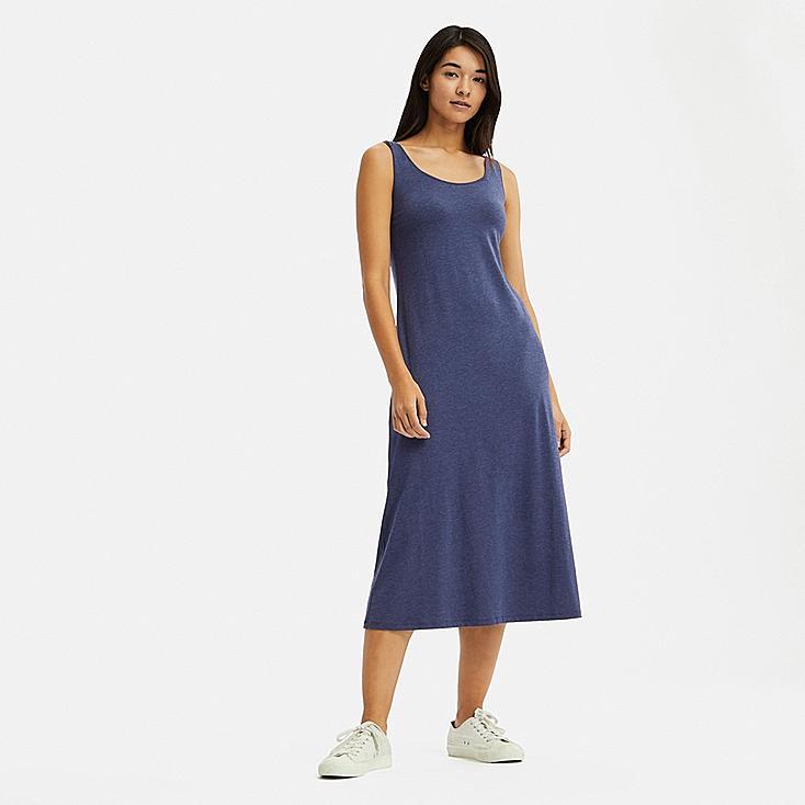 WOMEN SLEEVELESS LONG BRA DRESS, BLUE, large