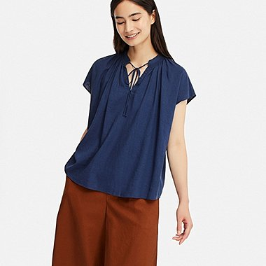 WOMEN LINEN BLEND SHORT-SLEEVE BLOUSE, BLUE, medium