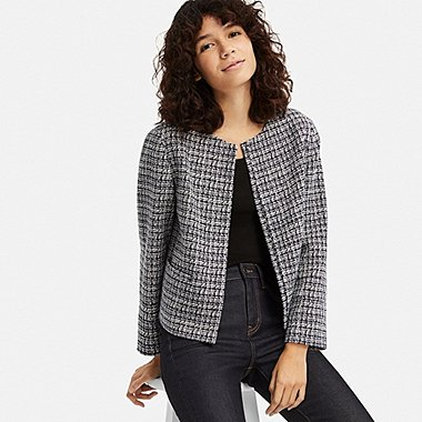 WOMEN TWEED COLLARLESS JACKET (ONLINE EXCLUSIVE), BLUE, medium