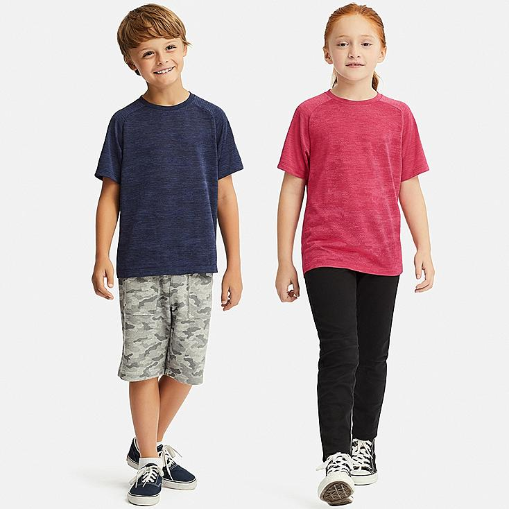 KIDS DRY-EX CREW NECK SHORT-SLEEVE T-SHIRT, BLUE, large