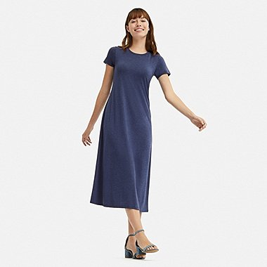 WOMEN SHORT-SLEEVE LONG BRA DRESS, BLUE, medium