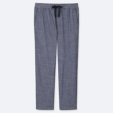 MEN CHAMBRAY RELAX ANKLE PANTS, BLUE, medium