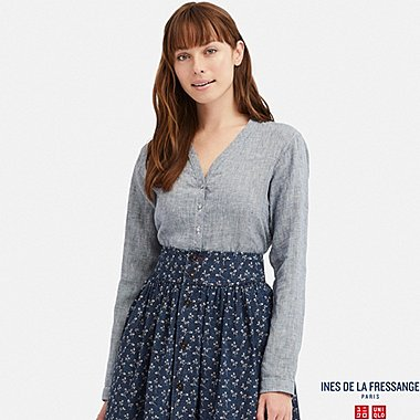 WOMEN LINEN V-NECK LONG-SLEEVE BLOUSE (INES DE LA FRESSANGE), BLUE, medium