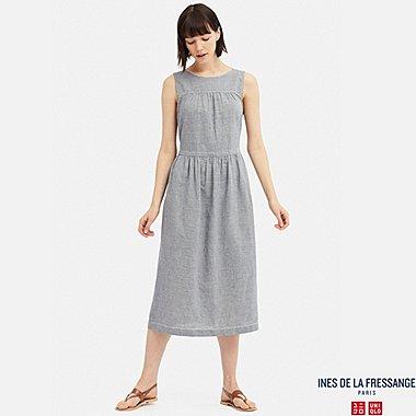 WOMEN INES COTTON LINEN BLEND SLEEVELESS DRESS