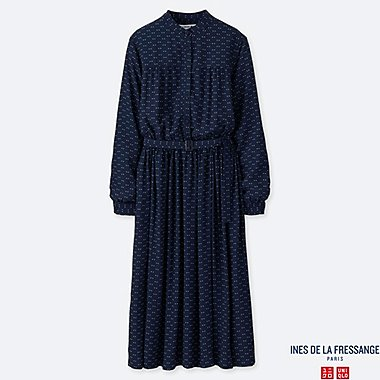 WOMEN INES GEORGETTE GATHERED LONG SLEEVED DRESS