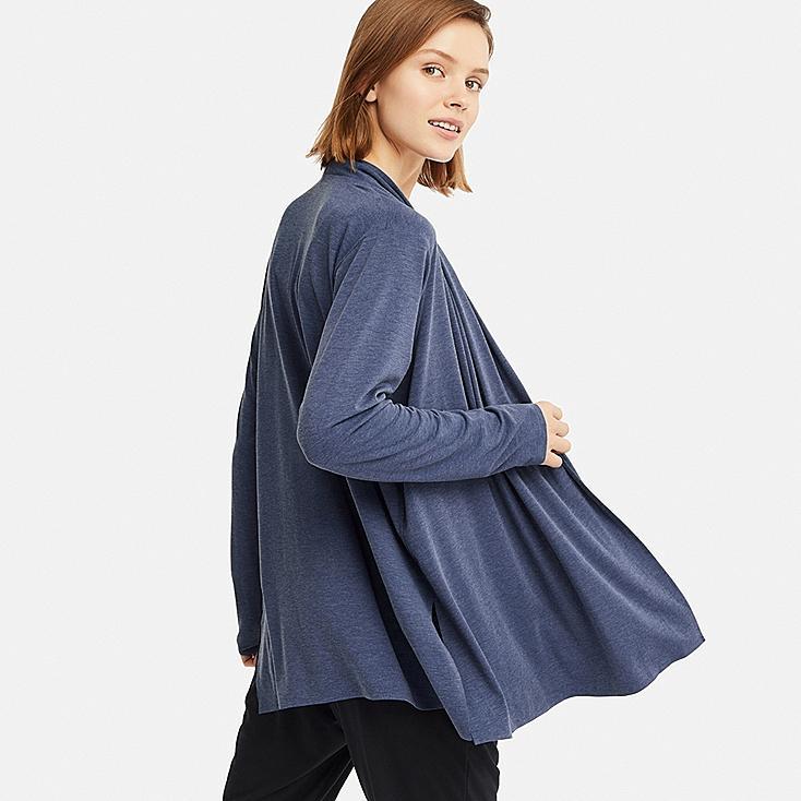 WOMEN AIRism UV CUT SEAMLESS STOLE CARDIGAN, BLUE, large
