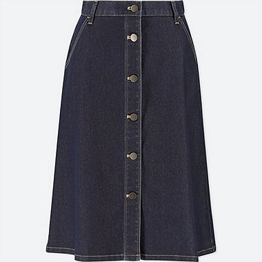 WOMEN DENIM FRONT BUTTON SKIRT, BLUE, medium