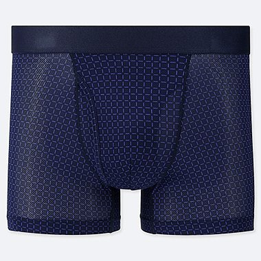 MEN AIRISM MESH GRID PRINT BOXER SHORTS