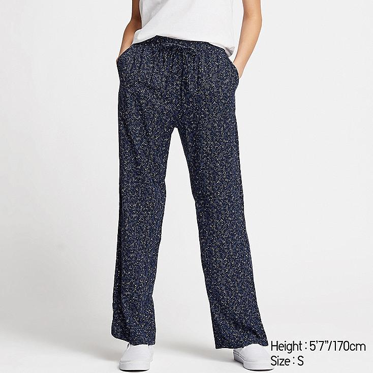 WOMEN DRAPE STRAIGHT PANTS, BLUE, large