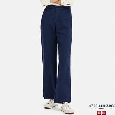 WOMEN LINEN COTTON RELAXED PANTS (INES DE LA FRESSANGE), BLUE, medium