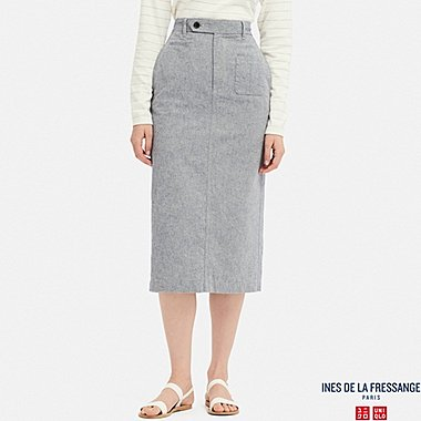 WOMEN INES LINEN COTTON BLEND STRAIGHT FIT SKIRT