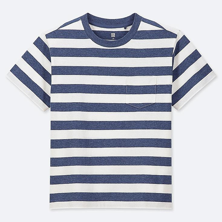 KIDS STRIPED CREW NECK SHORT-SLEEVE T-SHIRT, BLUE, large