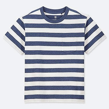KIDS STRIPED CREW NECK SHORT-SLEEVE T-SHIRT, BLUE, medium
