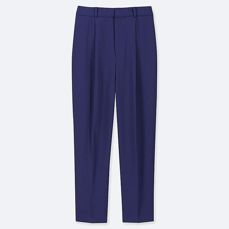 WOMEN DRAPE TAPERED ANKLE-LENGTH PANTS, BLUE, large