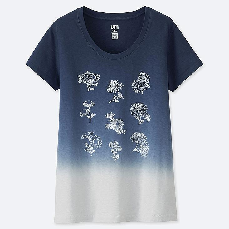 WOMEN HOKUSAI BLUE SHORT-SLEEVE GRAPHIC T-SHIRT, BLUE, large