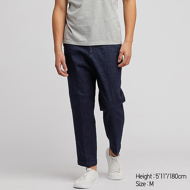 MEN EZY ANKLE-LENGTH PANTS (DENIM), BLUE, large