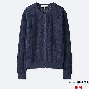 WOMEN POINTELLE CREW NECK CARDIGAN (INES DE LA FRESSANGE), BLUE, medium