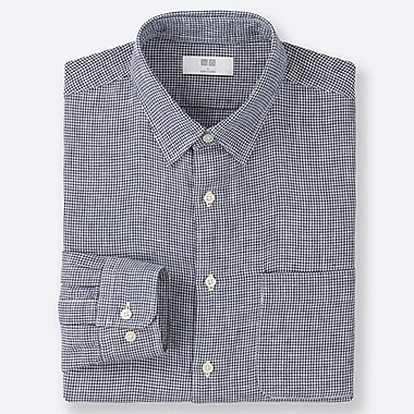MEN PREMIUM LINEN CHECKED LONG-SLEEVE SHIRT, BLUE, medium