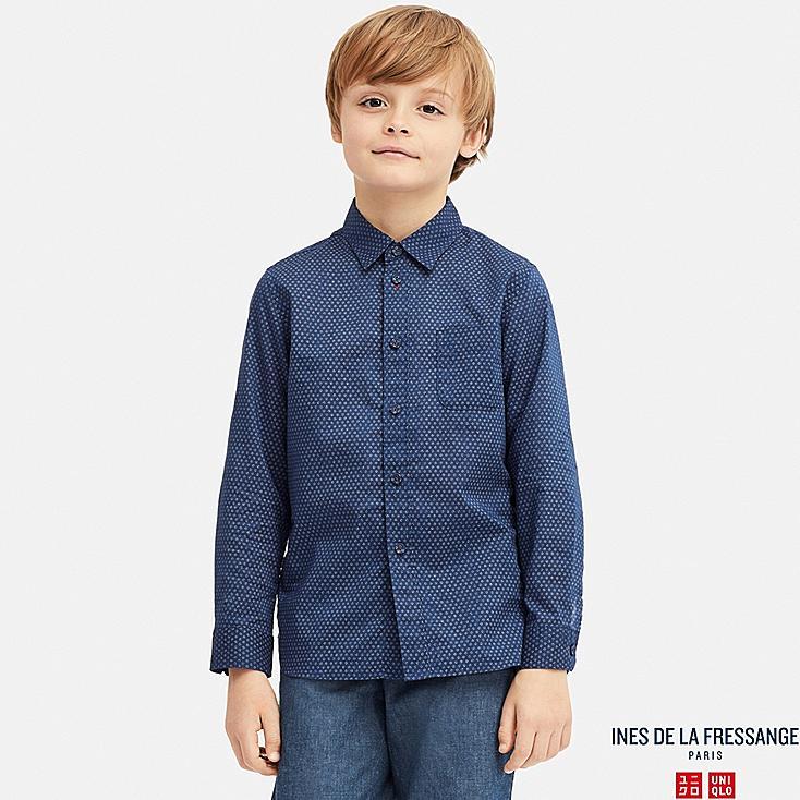KIDS COTTON LAWN LONG-SLEEVE SHIRT (INES DE LA FRESSANGE), BLUE, large