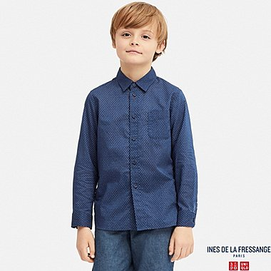 KIDS COTTON LAWN LONG-SLEEVE SHIRT (INES DE LA FRESSANGE), BLUE, medium