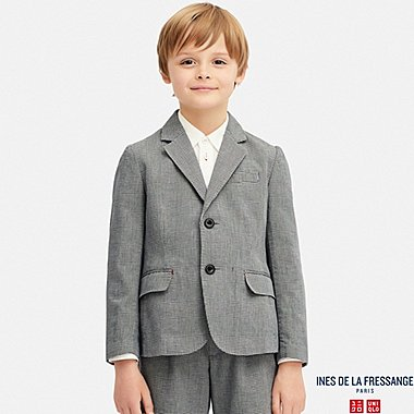 KIDS INES COTTON CHECKED BLAZER JACKET