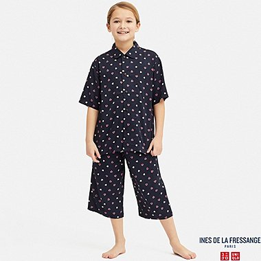 KIDS INES RAYON HEART PRINT SHORT SLEEVED PYJAMAS