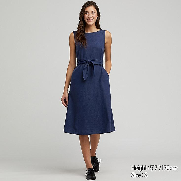 WOMEN LINEN BLEND A-LINE SLEEVELESS DRESS, BLUE, large