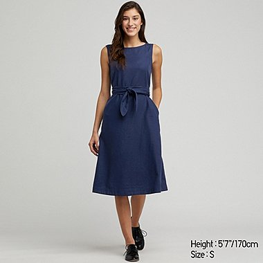 WOMEN LINEN BLEND A-LINE SLEEVELESS DRESS, BLUE, medium