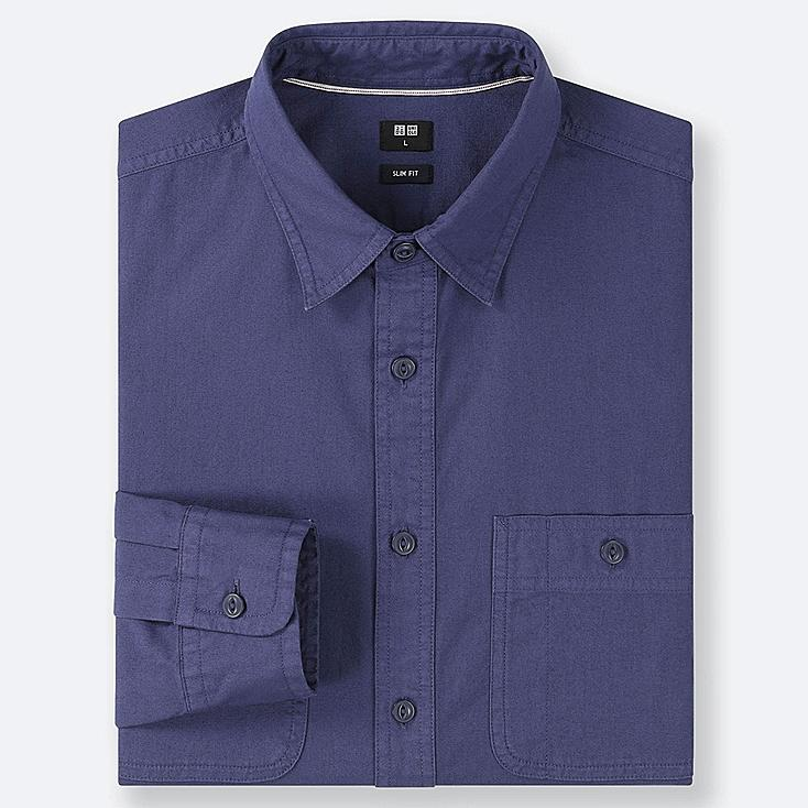 MEN WORK SLIM-FIT LONG-SLEEVE SHIRT, BLUE, large