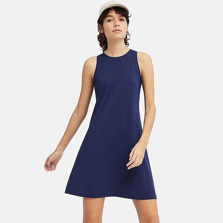 WOMEN COTTON MODAL SLEEVELESS DRESS, BLUE, large