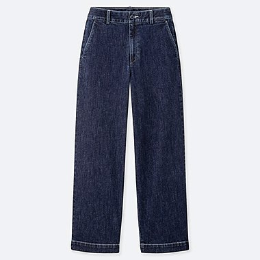 WOMEN HIGH-WAISTED WIDE STRAIGHT PANTS (DENIM), BLUE, medium