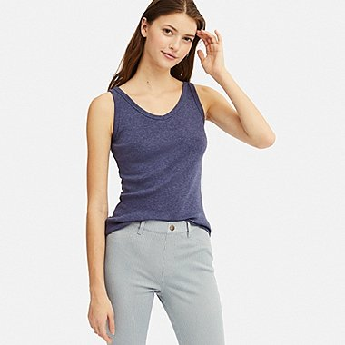 WOMEN COTTON BLENDED RIBBED V-NECK SLEEVELESS TOP, BLUE, medium