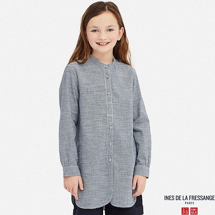 GIRLS LINEN COTTON LONG-SLEEVE TUNIC (INES DE LA FRESSANGE), BLUE, large