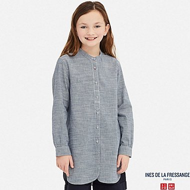 GIRLS LINEN COTTON LONG-SLEEVE TUNIC (INES DE LA FRESSANGE), BLUE, medium