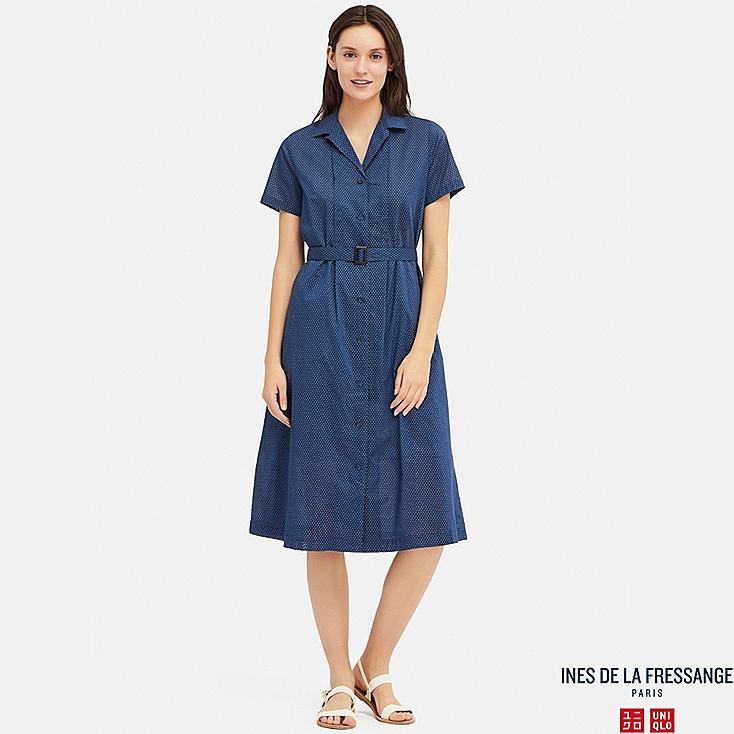 WOMEN COTTON LAWN TUCK SHORT-SLEEVE DRESS (INES DE LA FRESSANGE), BLUE, large
