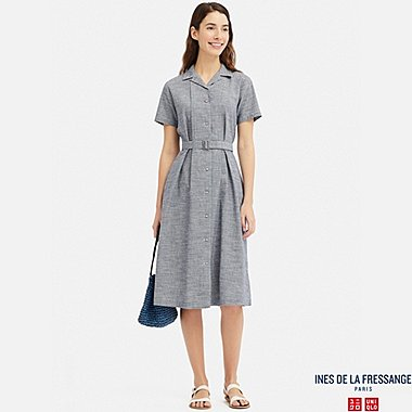 WOMEN INES LINEN COTTON BLEND TUCKED SHORT SLEEVED DRESS