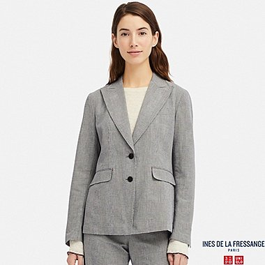 WOMEN COTTON CHECKED BLAZER (INES DE LA FRESSANGE), BLUE, medium