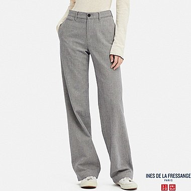 WOMEN COTTON CHECKED WIDE PANTS (INES DE LA FRESSANGE), BLUE, medium