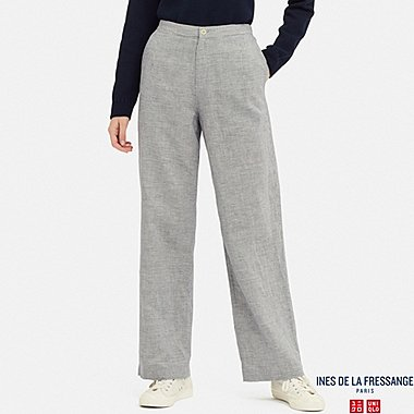 WOMEN LINEN COTTON PANTS (INES DE LA FRESSANGE), BLUE, medium