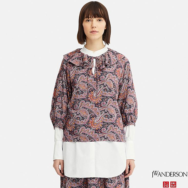 96c993ec4a369 WOMEN JW ANDERSON PAISLEY RUFFLE NECK 3 4 SLEEVED BLOUSE