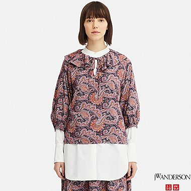 WOMEN JW ANDERSON PAISLEY RUFFLE NECK 3/4 SLEEVED BLOUSE