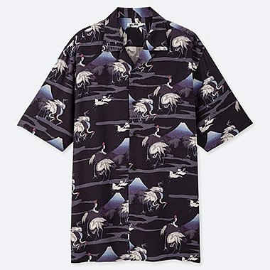 MEN HOKUSAI BLUE SHORT SLEEVED SHIRT (OPEN COLLAR)