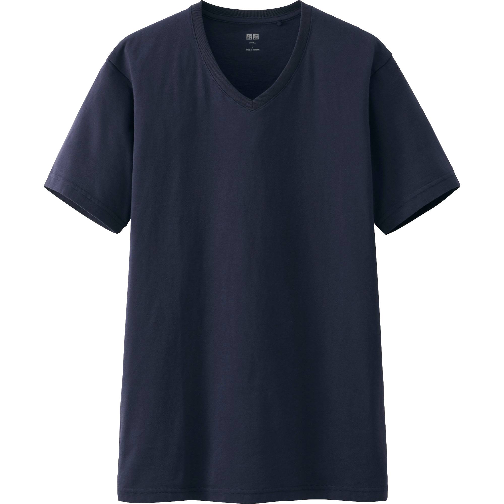 Black t shirts v neck - Men Supima Cotton V Neck Short Sleeve T Shirt Navy Large